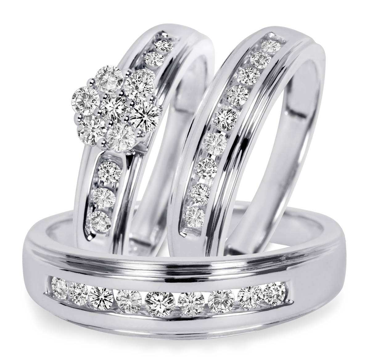 3/4 Ct. T.w. Diamond Trio Matching Wedding Ring Set 10K White Gold With Wedding And Engagement Ring Sets (Gallery 13 of 15)