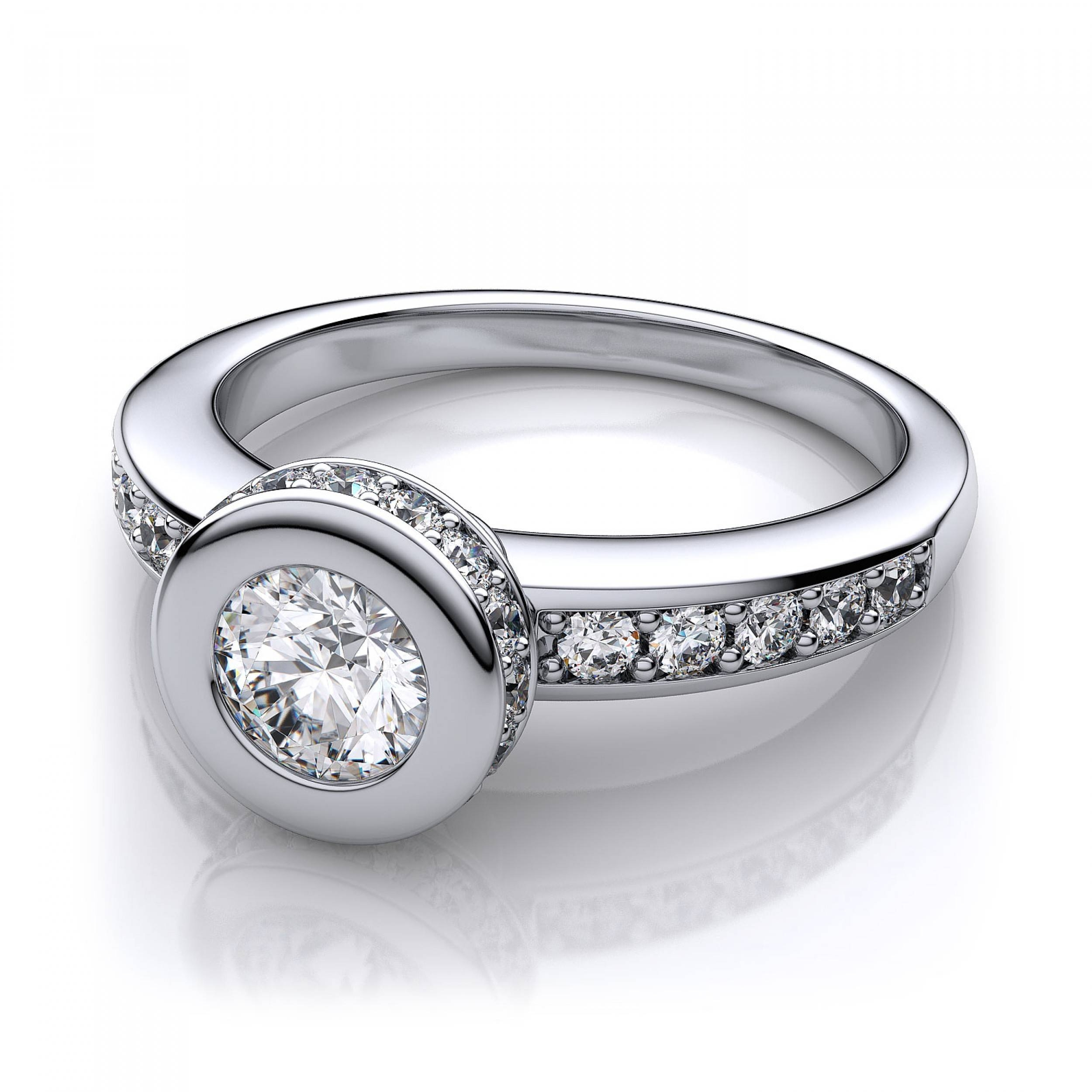 35ctw Halo Round Diamond Sidestones Bezel Set Sidestones Throughout Diamond Wedding Rings Settings (View 3 of 15)
