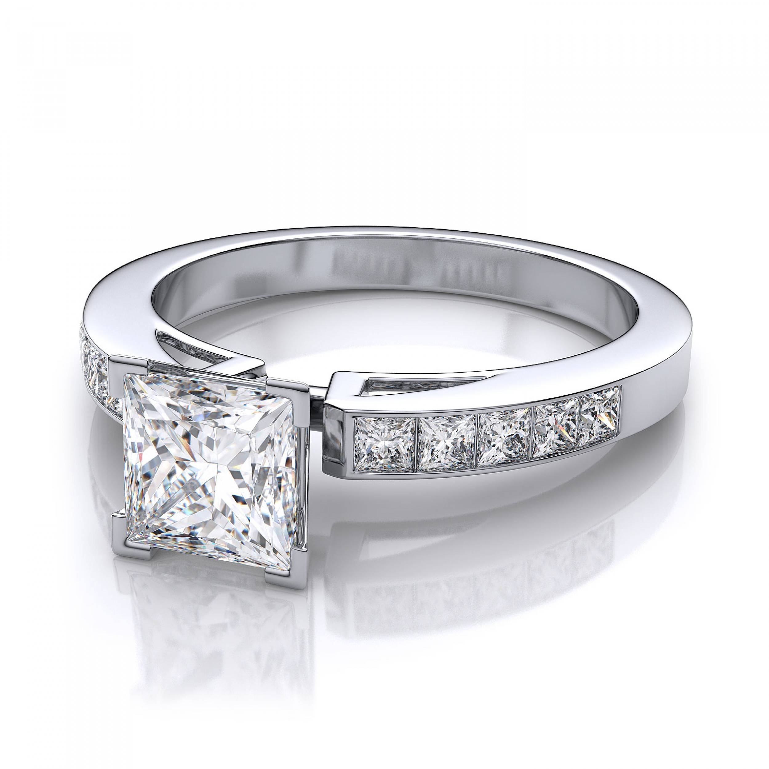 35ctw Invisible Set Princess Cut Sidestones Engagement Ring With Regard To Princess Cut Diamond Engagement Rings (View 7 of 15)