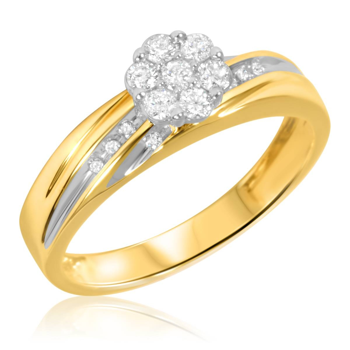 3/8 Carat T.w. Diamond Trio Matching Wedding Ring Set 14K Yellow Gold For 24K Gold Wedding Rings (Gallery 11 of 15)