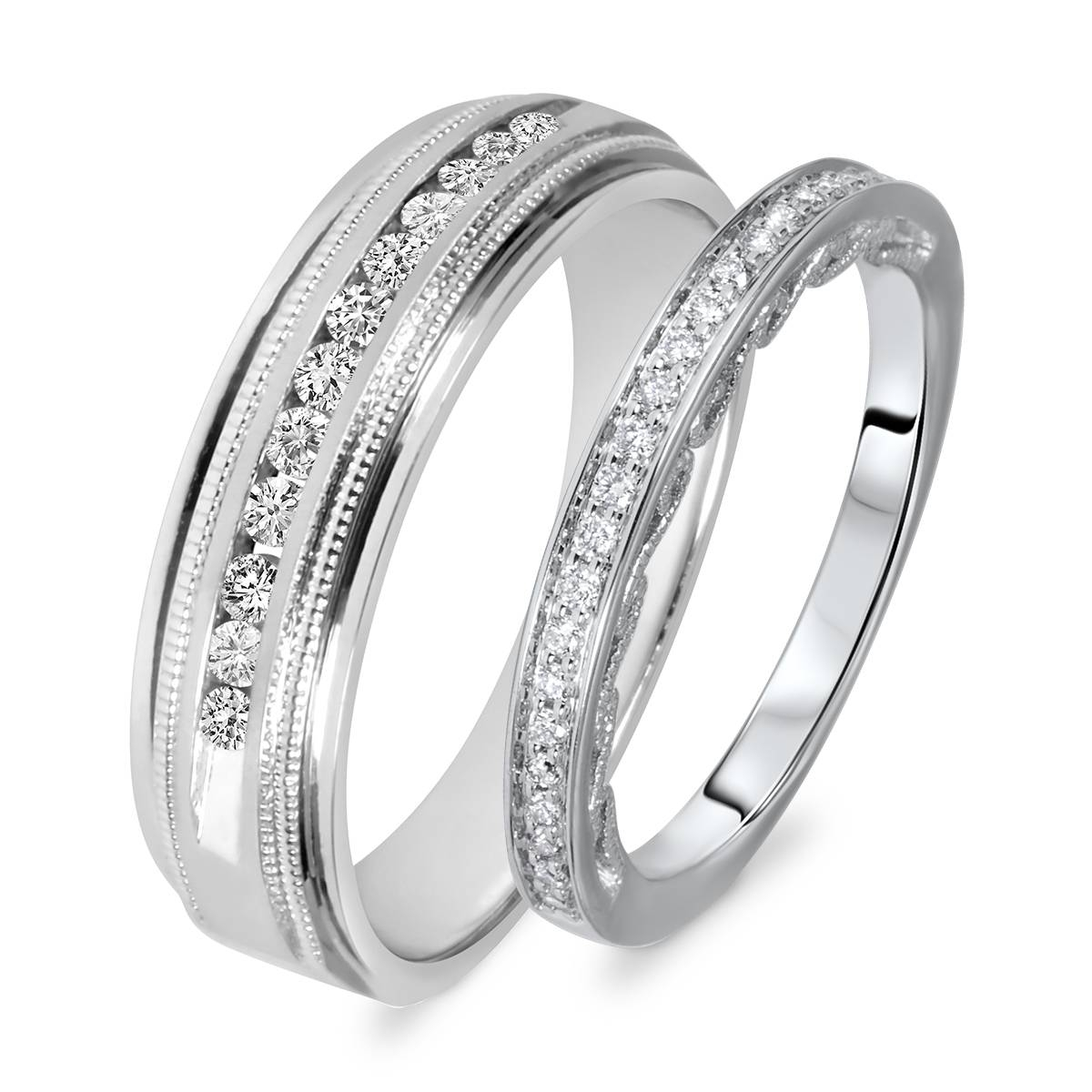 3/8 Carat T.w. Round Cut Diamond His And Hers Wedding Band Set 14K For His And Her Wedding Bands Sets (Gallery 42 of 339)