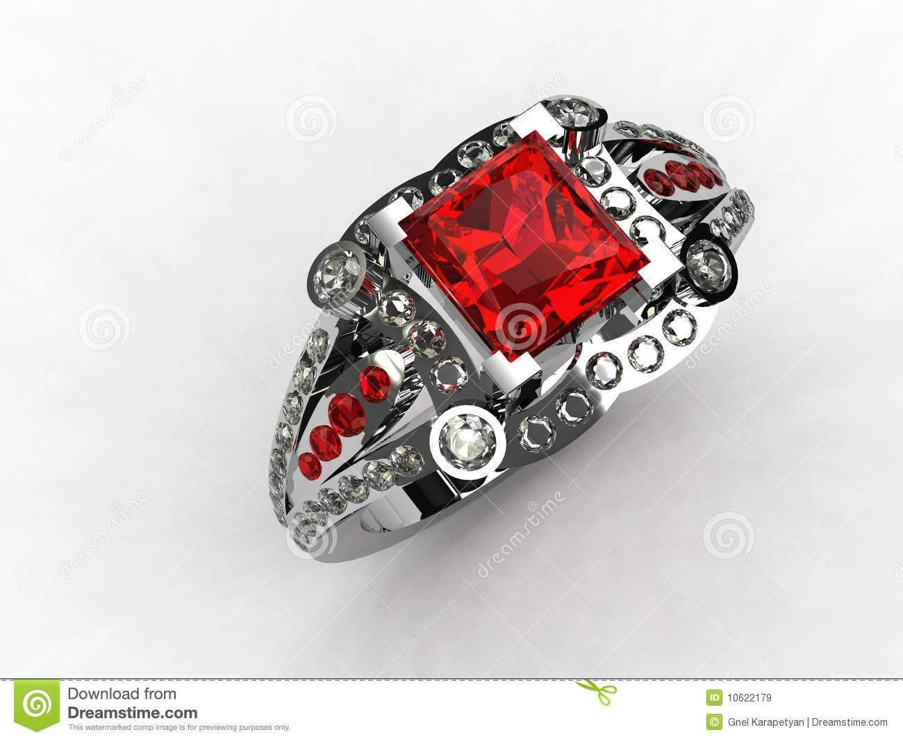 3D – Platinum Princess Cut Ruby Engagement Ring Royalty Free Stock In Princess Cut Ruby Engagement Rings (View 8 of 15)