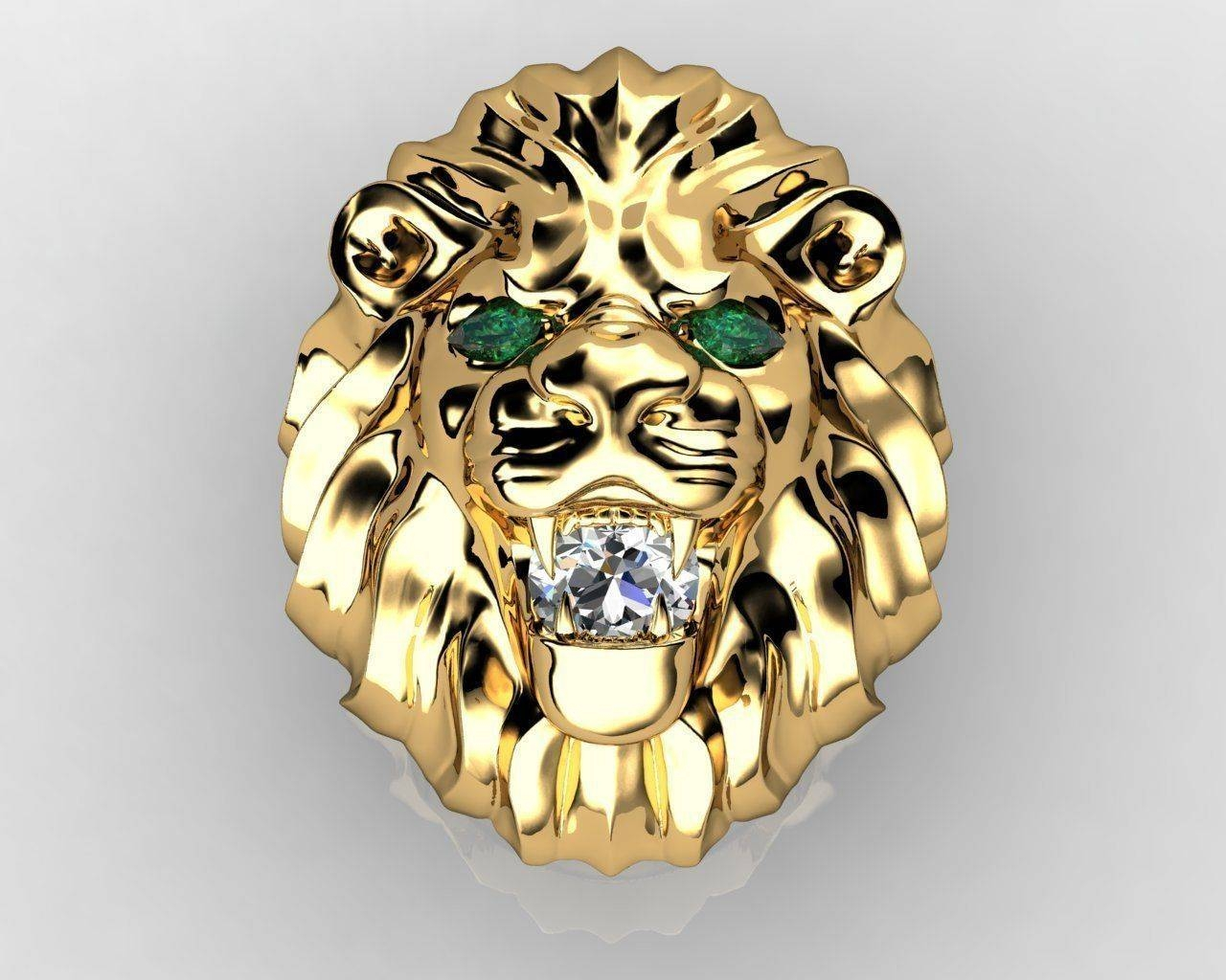 3D Print Model Diamond King Lion Ring | Cgtrader Throughout Lion Engagement Rings (View 2 of 15)