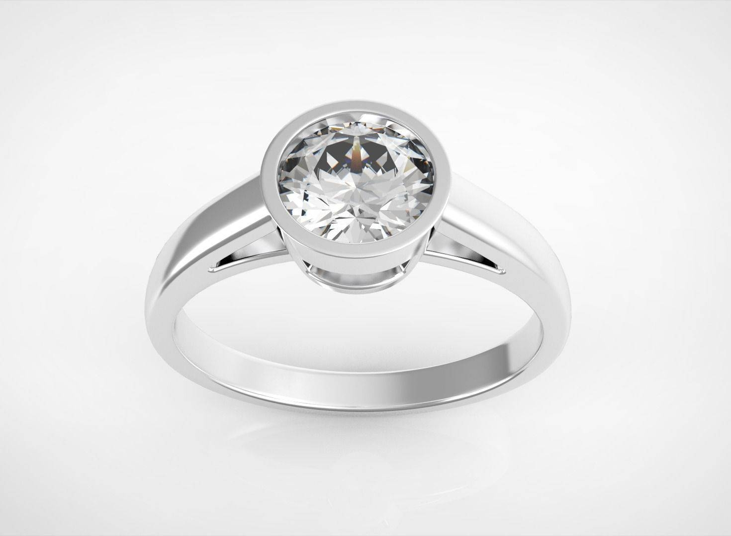 3D Printable Model Engagement Ring With One Stone Regarding One Rings Engagement Rings (View 2 of 15)