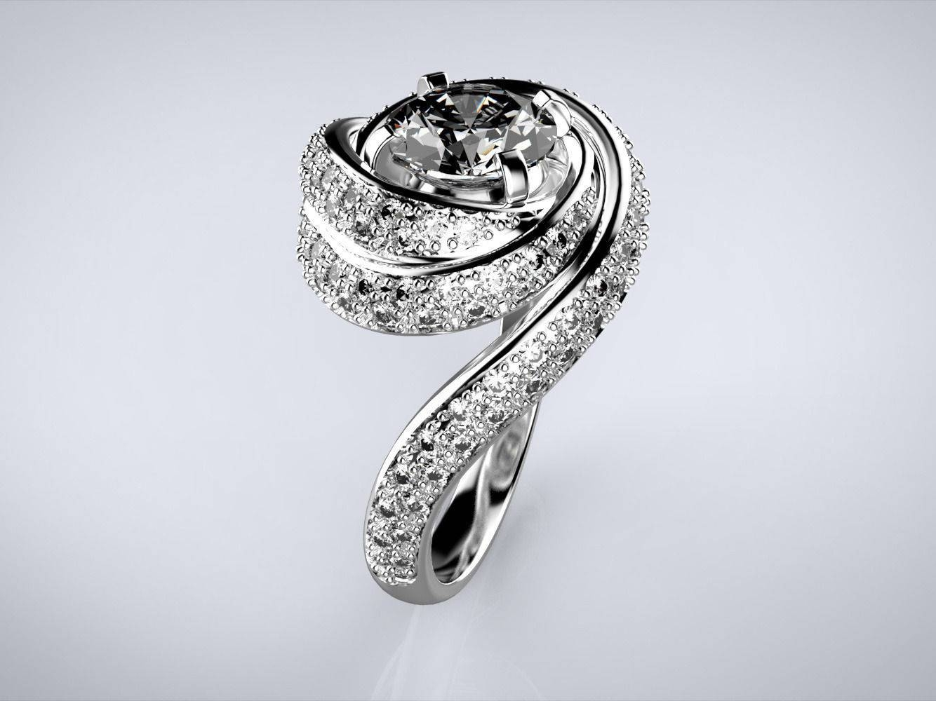 3d Printable Model Engagement Swirl Ring Spiral | Cgtrader Within Spiral Engagement Rings (View 15 of 15)