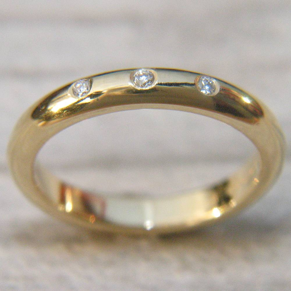 3Mm Half Round Diamond Wedding Ring | Ethical Wedding Rings With Three Gold Wedding Rings (View 4 of 15)