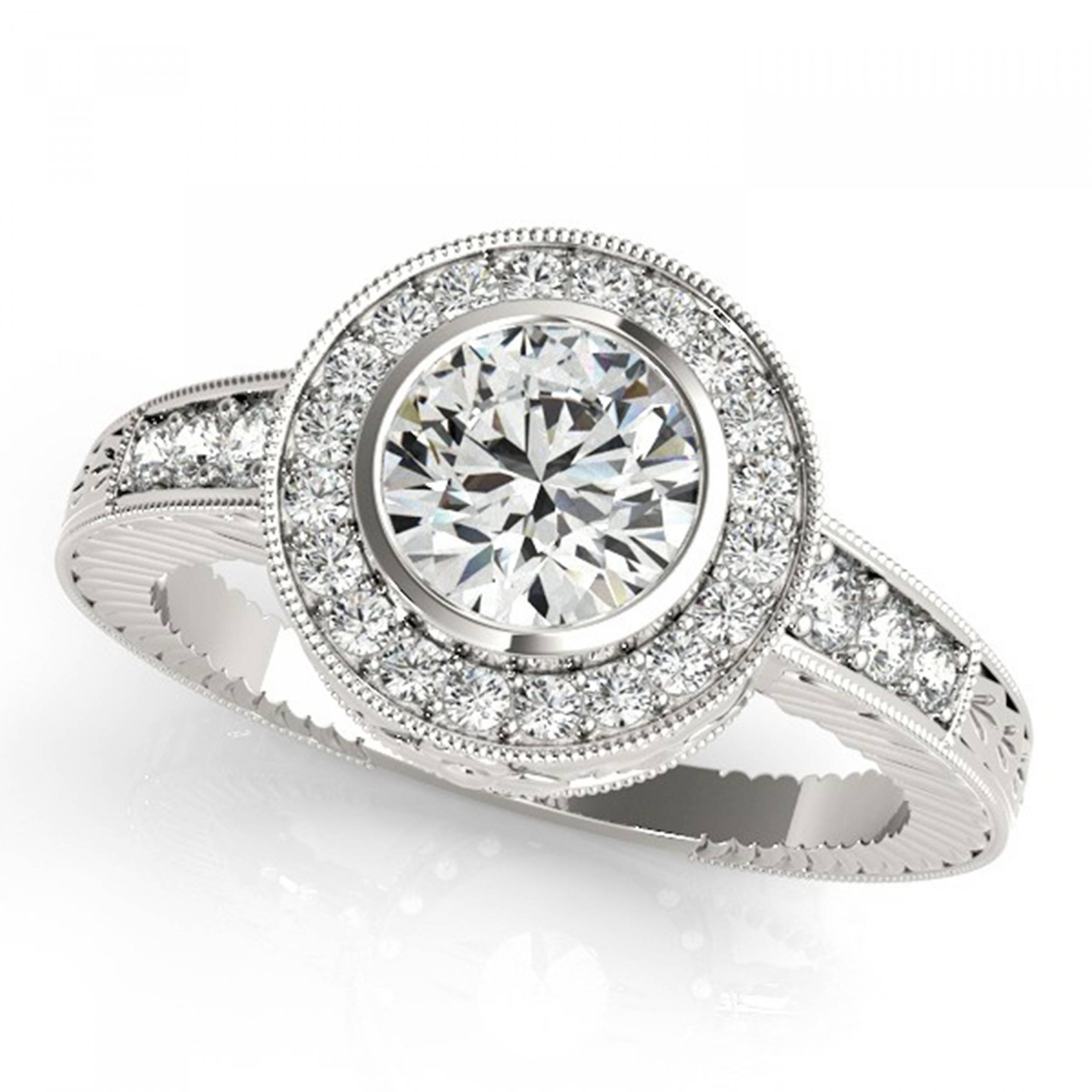 4 Carat Ornamental Etched Halo Bezel Diamond Sidestones Engagement Regarding Pear Bezel Engagement Rings (View 3 of 15)