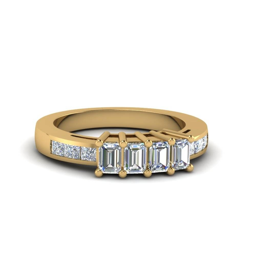 4 Emerald Cut Diamond Accents Stone Wedding Band For Women In 14K For Women's Yellow Gold Wedding Bands (View 5 of 15)