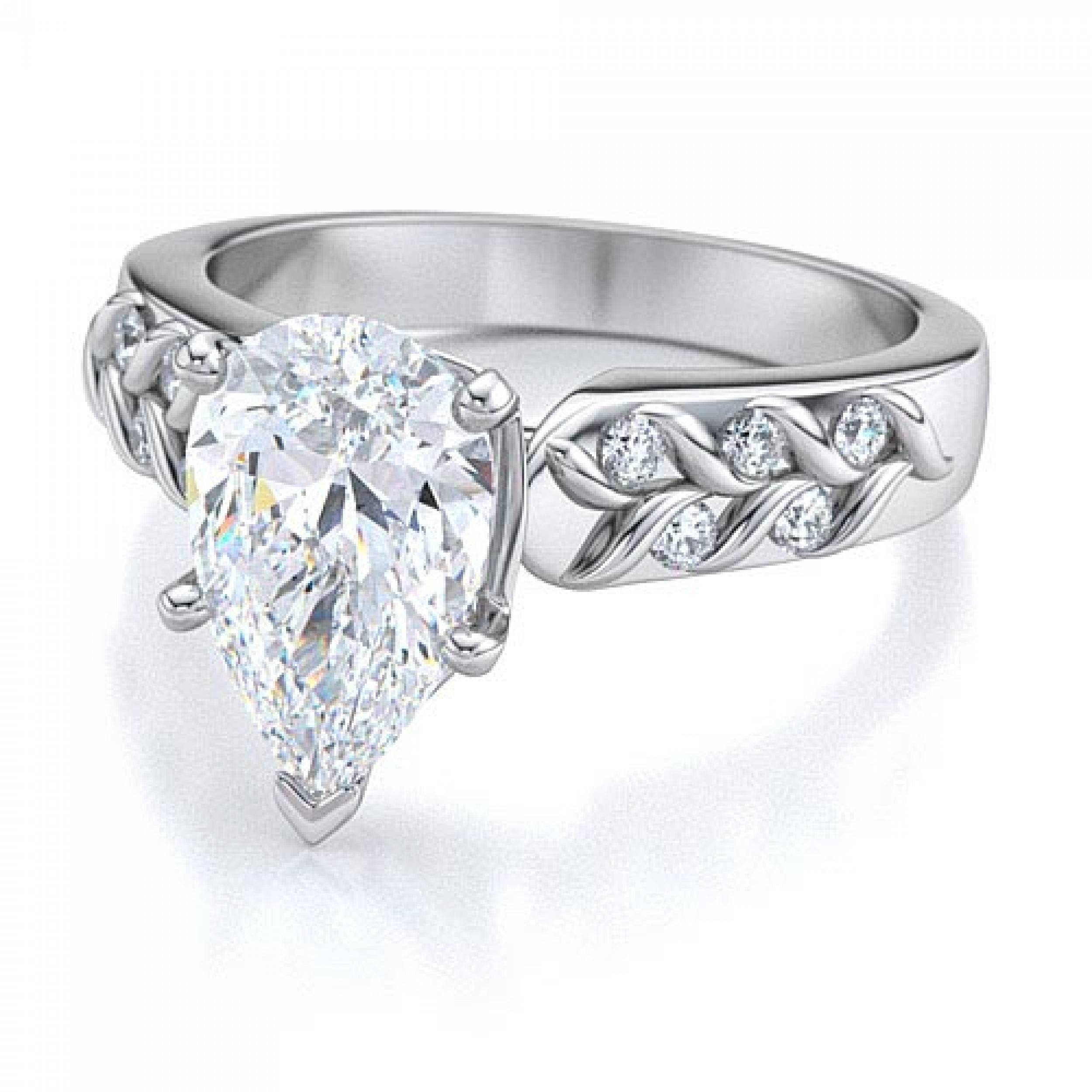 band with ring diamond pear engagement pin classic wedding shaped