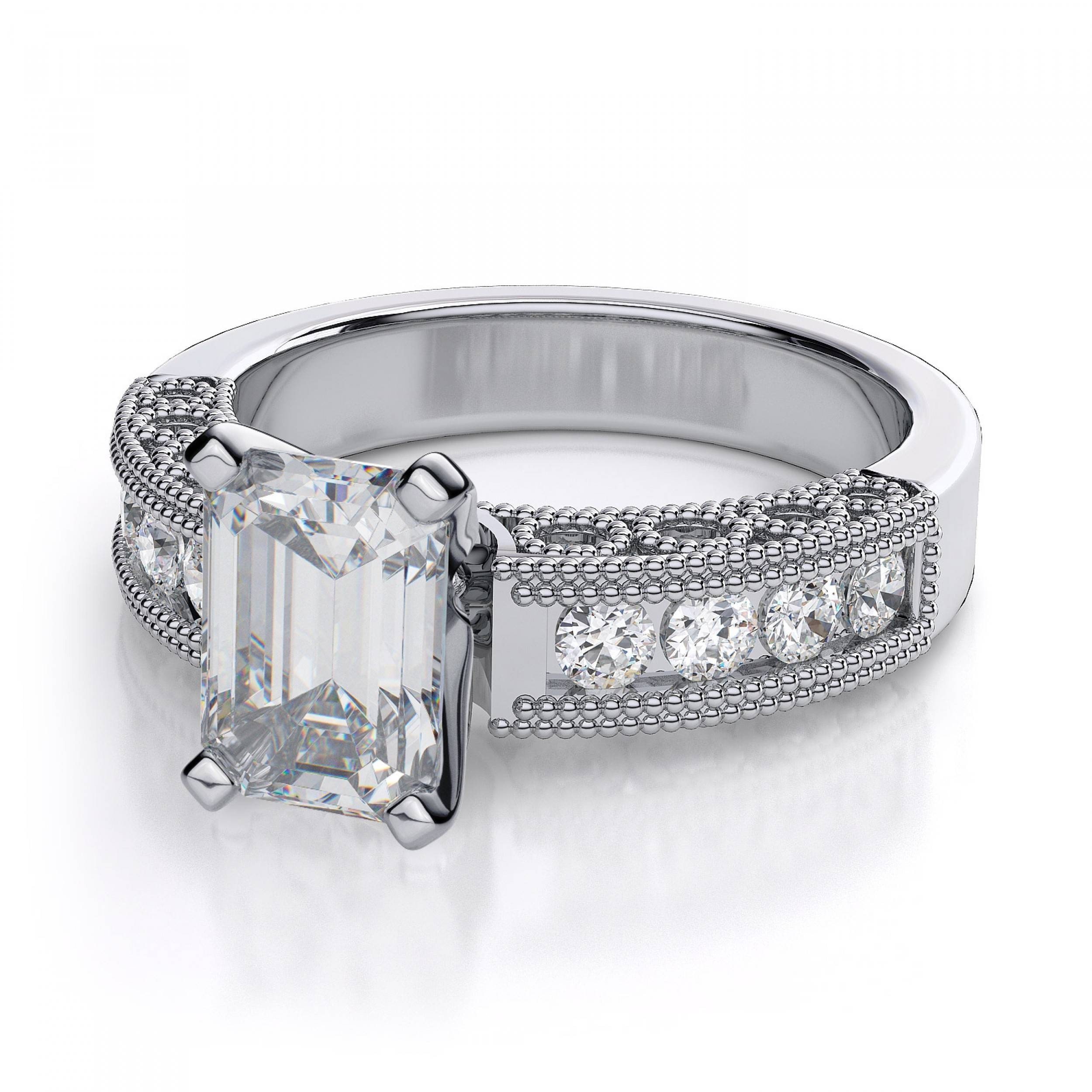 40ctw Vintage Emerald Cut Sidestones Diamond Engagement Ring Inside Engagement Rings 18k White Gold (View 14 of 15)