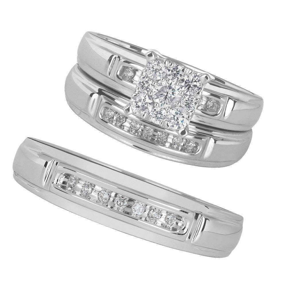 41 Walmart Wedding Band Sets, Carat Diamond Heart Bridal Set, Size In Wedding Bands At Walmart (View 2 of 15)