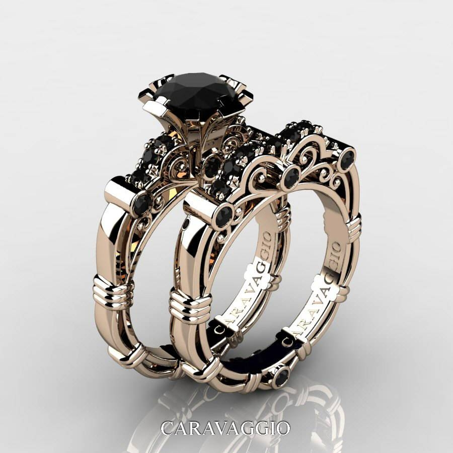 Featured Photo of Black Gold Diamond Wedding Rings