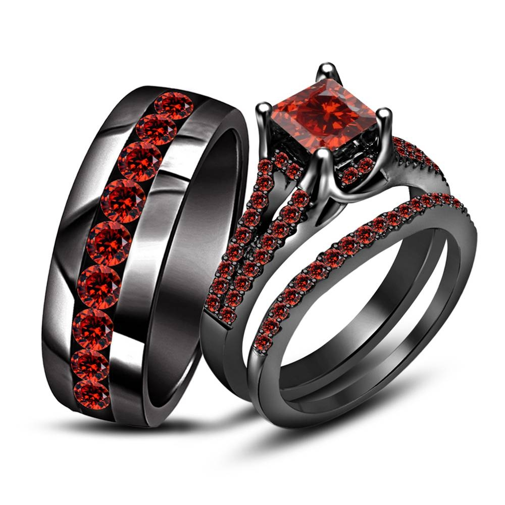 45 Garnet Wedding Set, Wedding Engagement/wedding Ring Sets Regarding Men's Garnet Wedding Bands (View 1 of 15)
