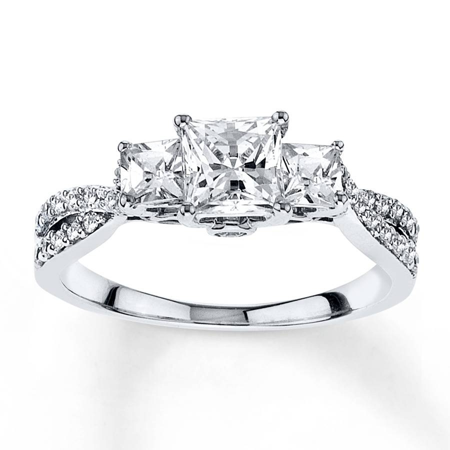 47 Princess Cut Wedding Sets White Gold, Kay Diamond Engagement Regarding White Gold Diamond Cut Wedding Rings (Gallery 14 of 15)