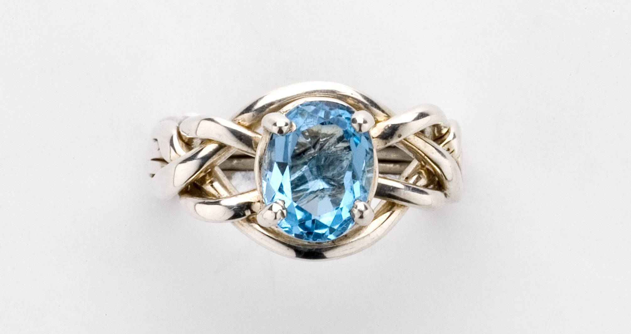 4Bt Blue Topaz Ladies' Puzzle Ring – Gold, Silver Or Platinum Pertaining To Engagement Puzzle Rings (Gallery 9 of 15)