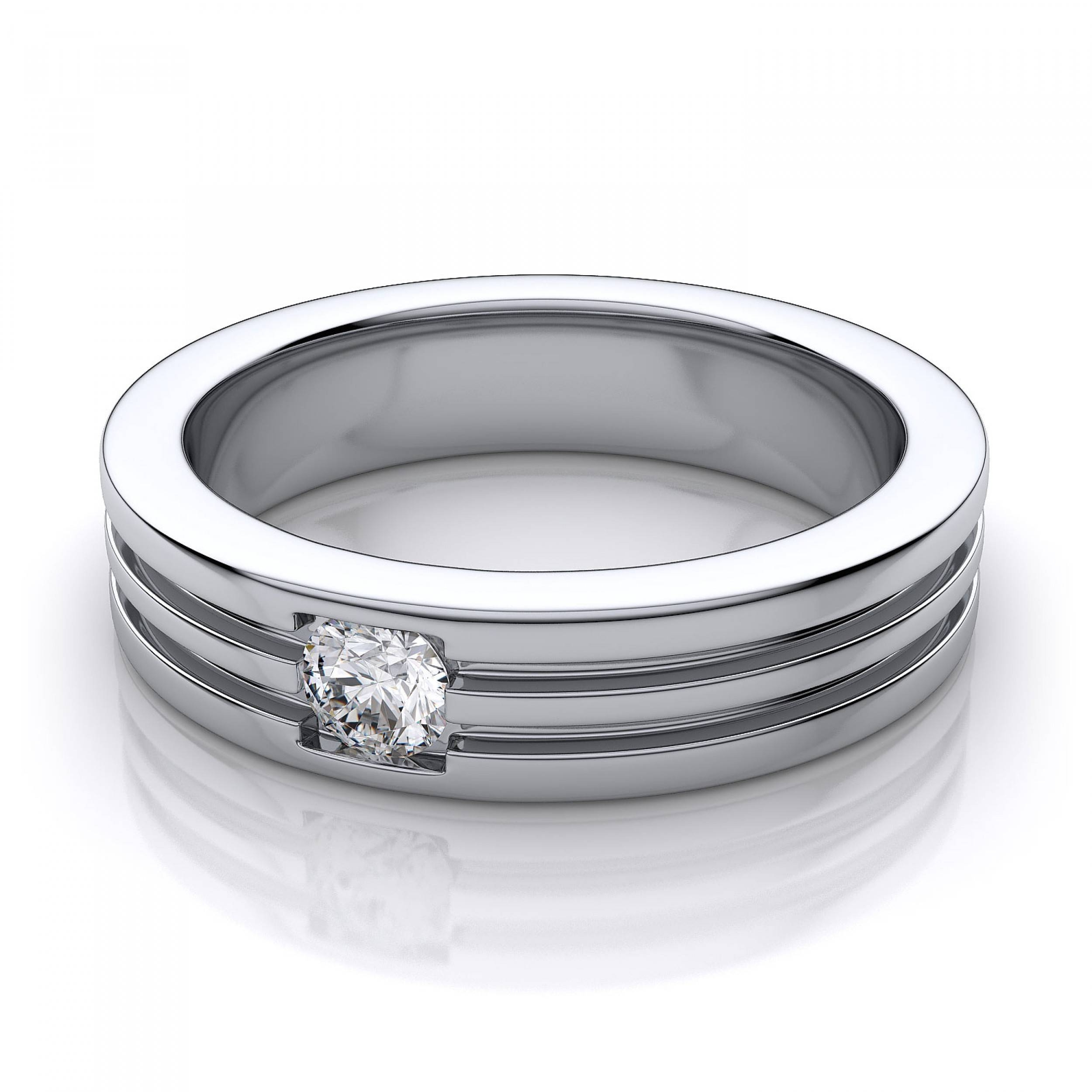 5.2Mm Men's Round Diamond Wedding Ring In 14K White Gold Within White Gold Male Wedding Rings (Gallery 10 of 15)