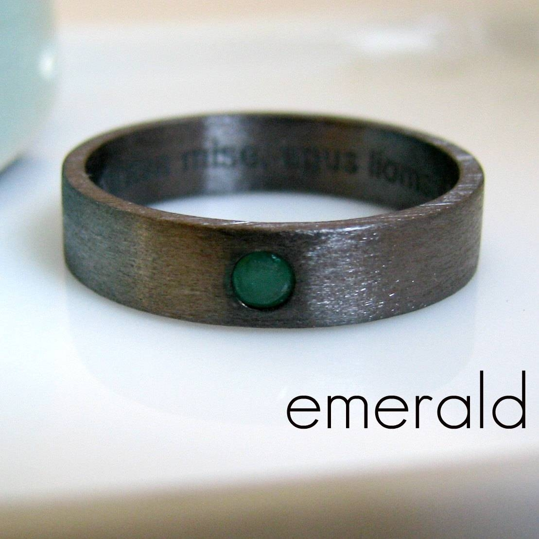 5 6Mm Emerald Wedding Band Black Gold Plated Over 925 With Men's Wedding Bands Emerald (View 3 of 15)