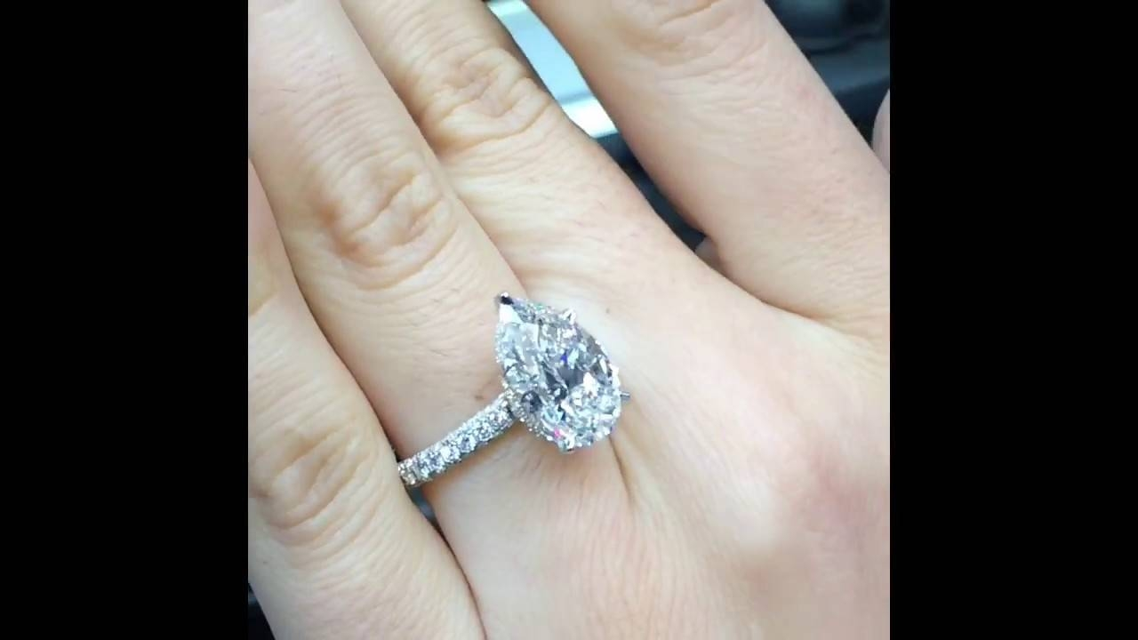 5 Carat Pear Diamond Engagement Ring – Youtube Inside 5 Carat Diamond Wedding Rings (View 2 of 15)