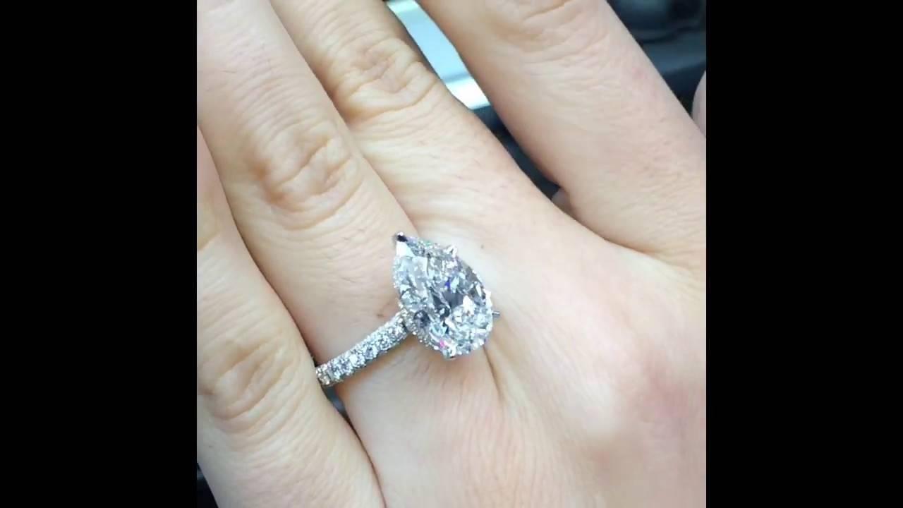 5 Carat Pear Diamond Engagement Ring – Youtube Inside 5 Carat Diamond Wedding Rings (View 5 of 15)