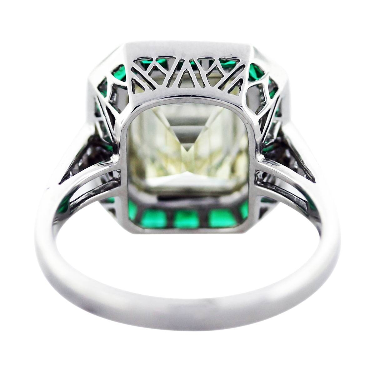 5 Ct Emerald Cut Diamond Emerald Platinum Engagement Ring Boca Raton For Emerald And Diamond Wedding Rings (View 5 of 15)