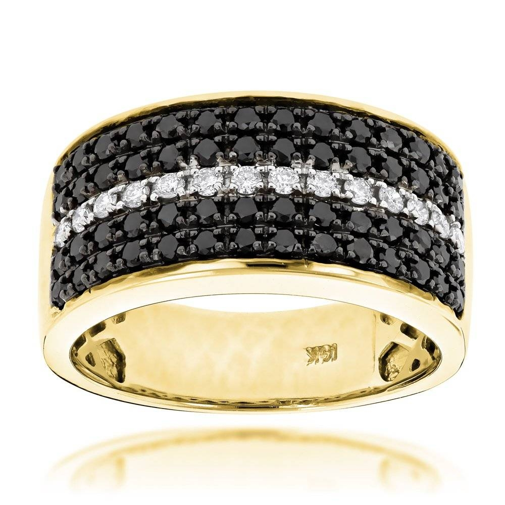 5 Row White Black Diamond Wedding Band For Menluxurman  (View 1 of 15)