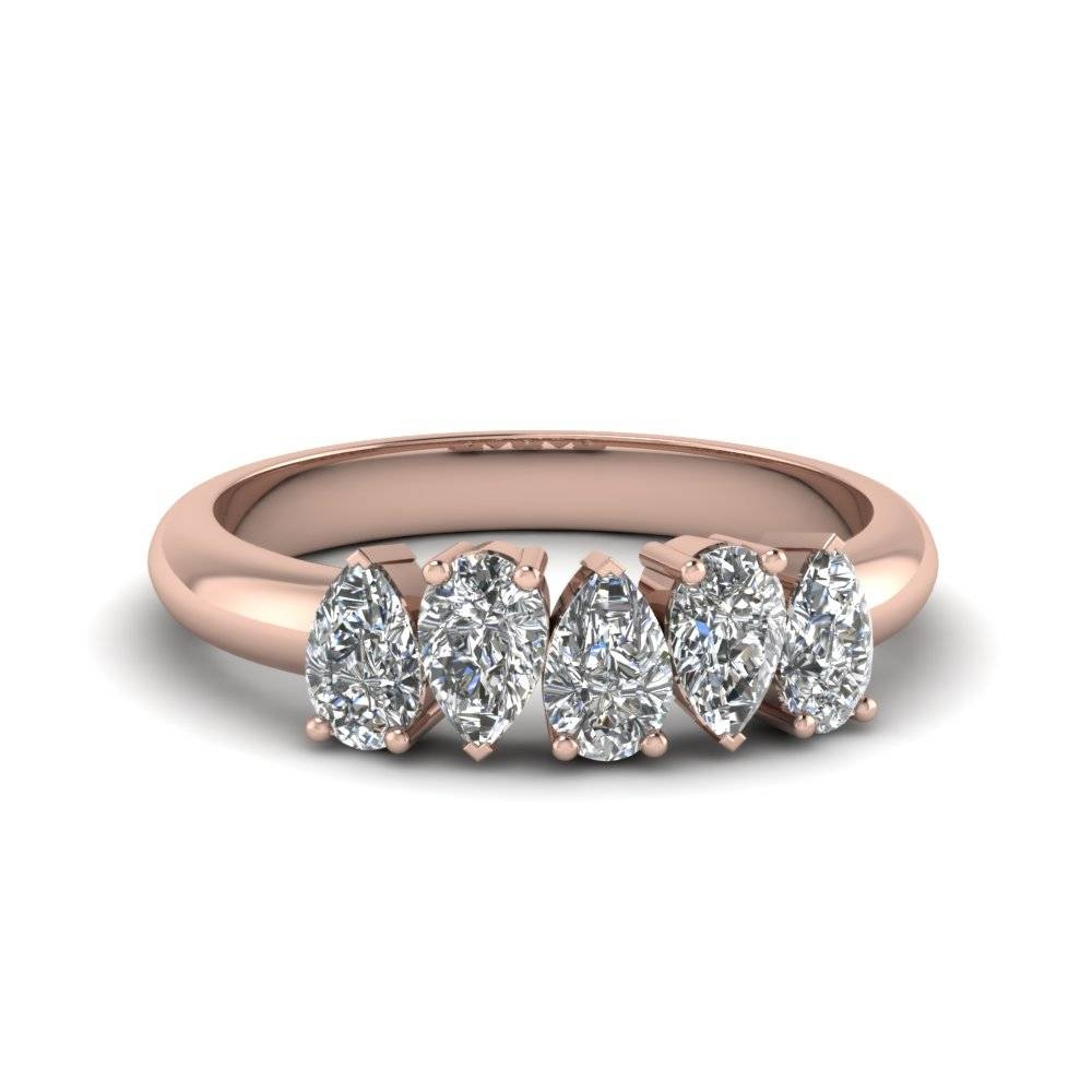 5 Stone Pear Shaped Diamond Band In 14K Rose Gold | Fascinating Regarding Pear Shaped Engagement Rings With Wedding Bands (View 2 of 15)