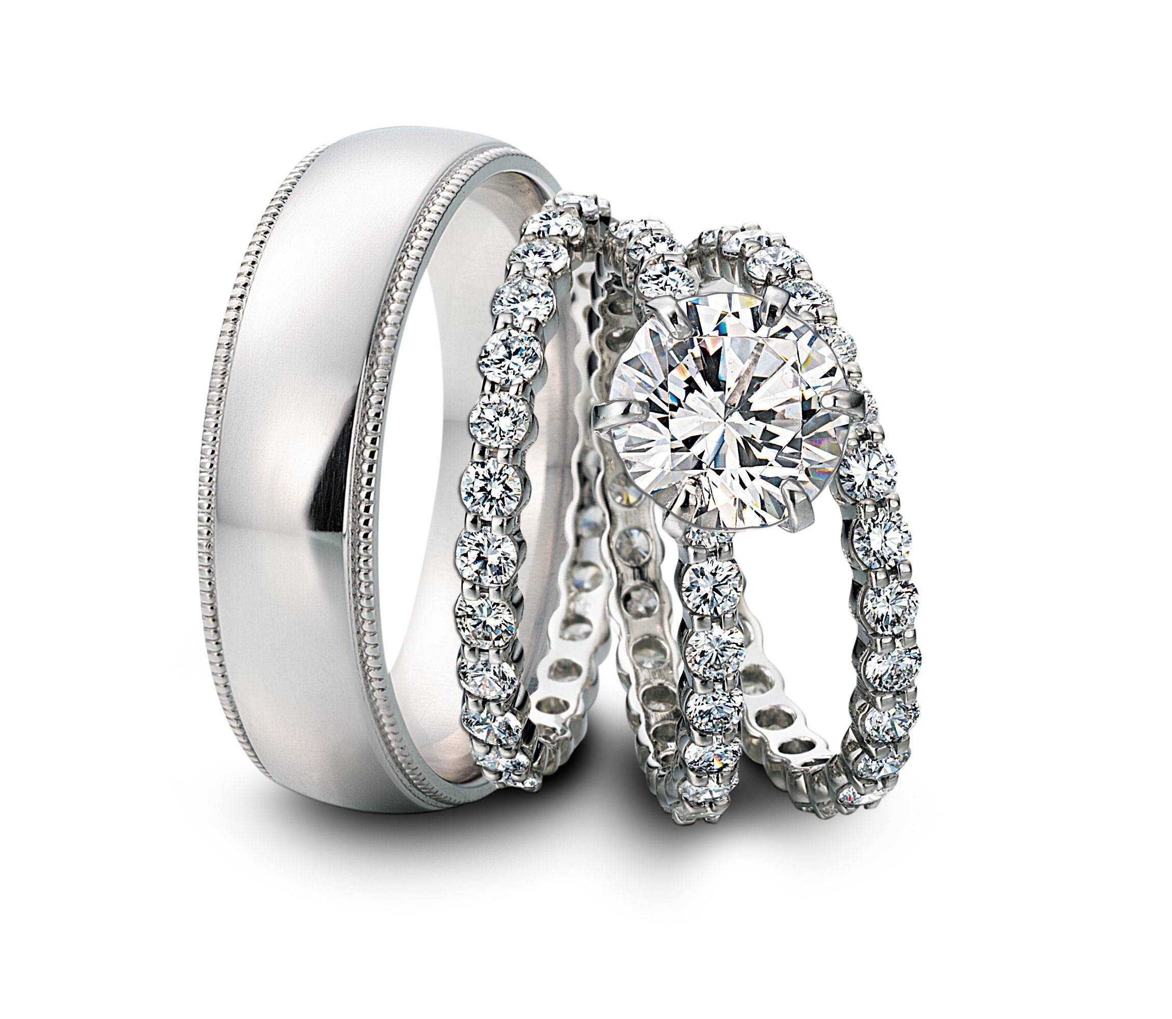 bands ring sets her rings wedding him white oak trinidad mossy gold proposal jewellery and in for