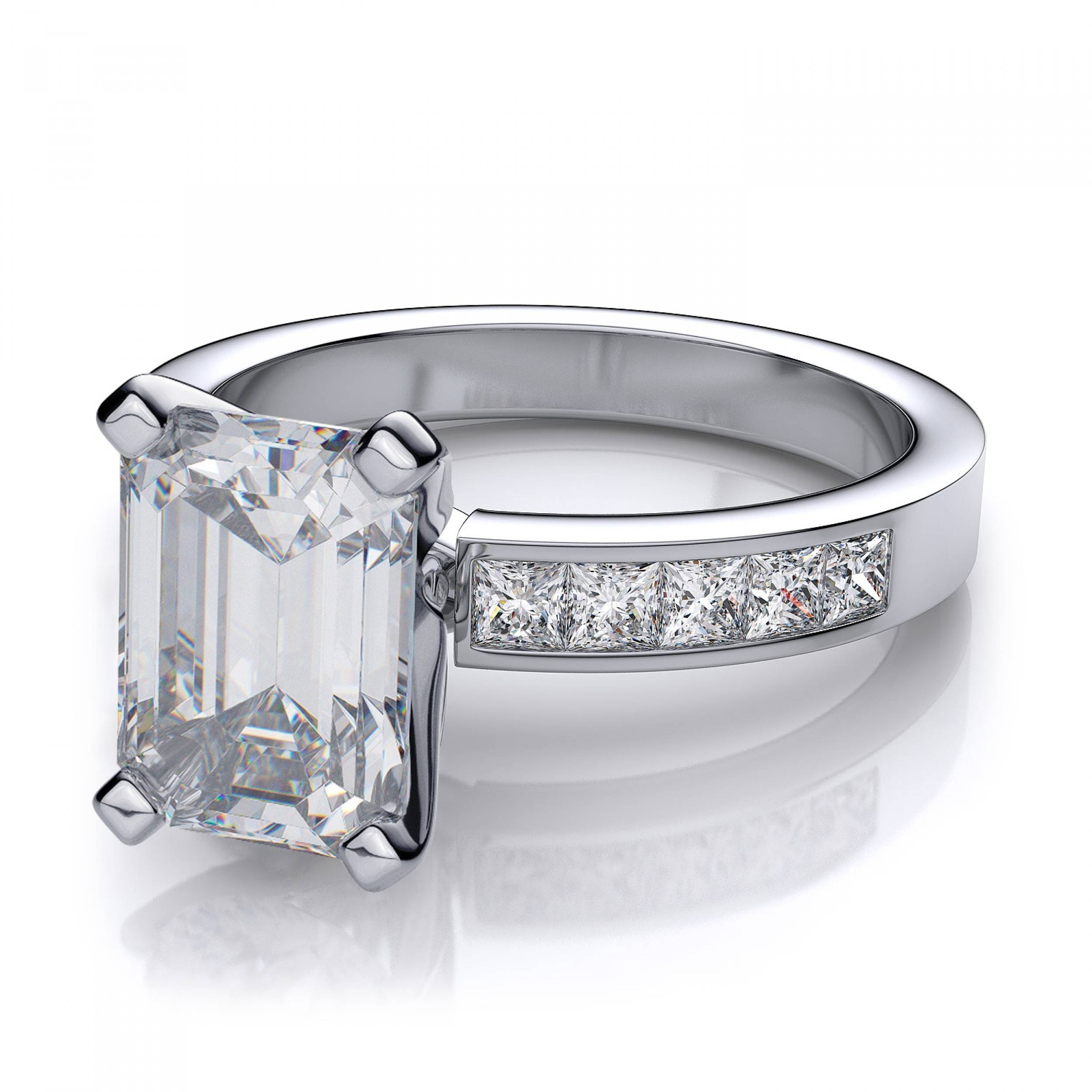 50ctw Channel Set Emerald Cut Sidestones Engagement Ring Setting For White Emerald Engagement Rings (View 4 of 15)