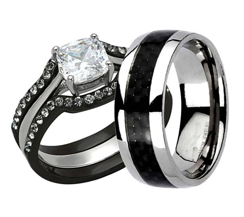 51 Black Wedding Band Sets, Black Stainless Steel Titanium Wedding With Black Titanium Wedding Bands Sets (View 11 of 15)