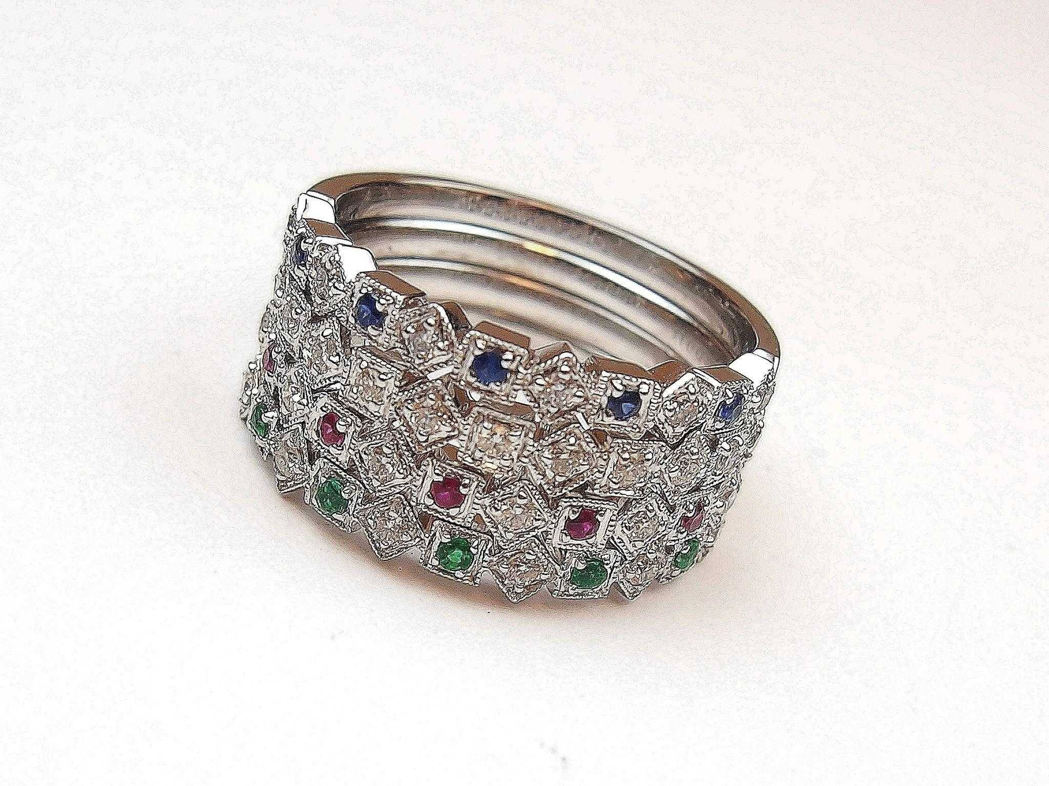 57 Ctw Diamond, Ruby, Emerald And Sapphire Stacking Rings 14K Within Emerald Sapphire Engagement Rings (Gallery 8 of 15)
