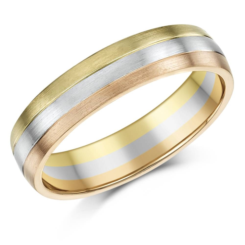5Mm 9Ct Gold 3 Colour Court Shape Wedding Ring Band – 9Ct 2 Colour With Three Gold Wedding Rings (Gallery 1 of 15)