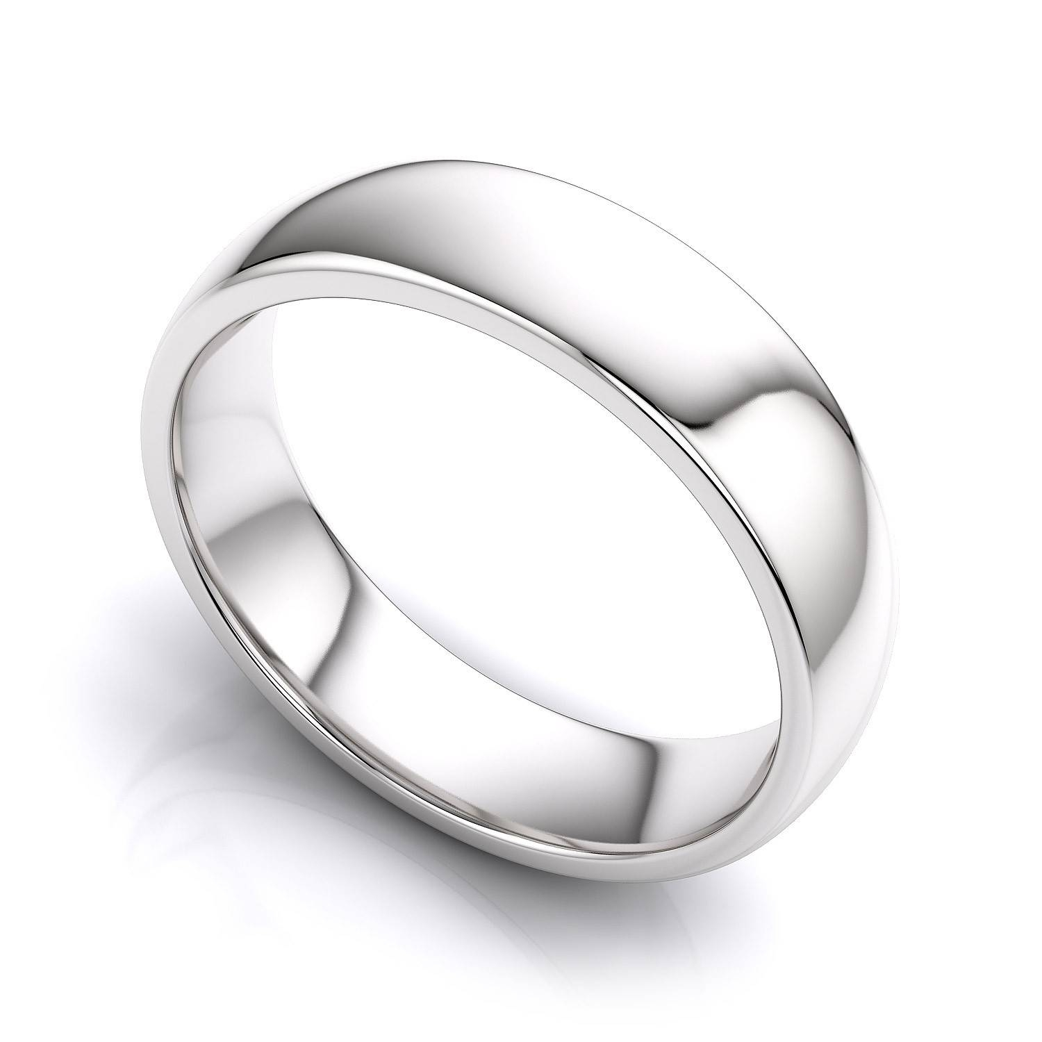 5Mm Comfort Fit Mens Plain Wedding Band In 14K White Gold Intended For