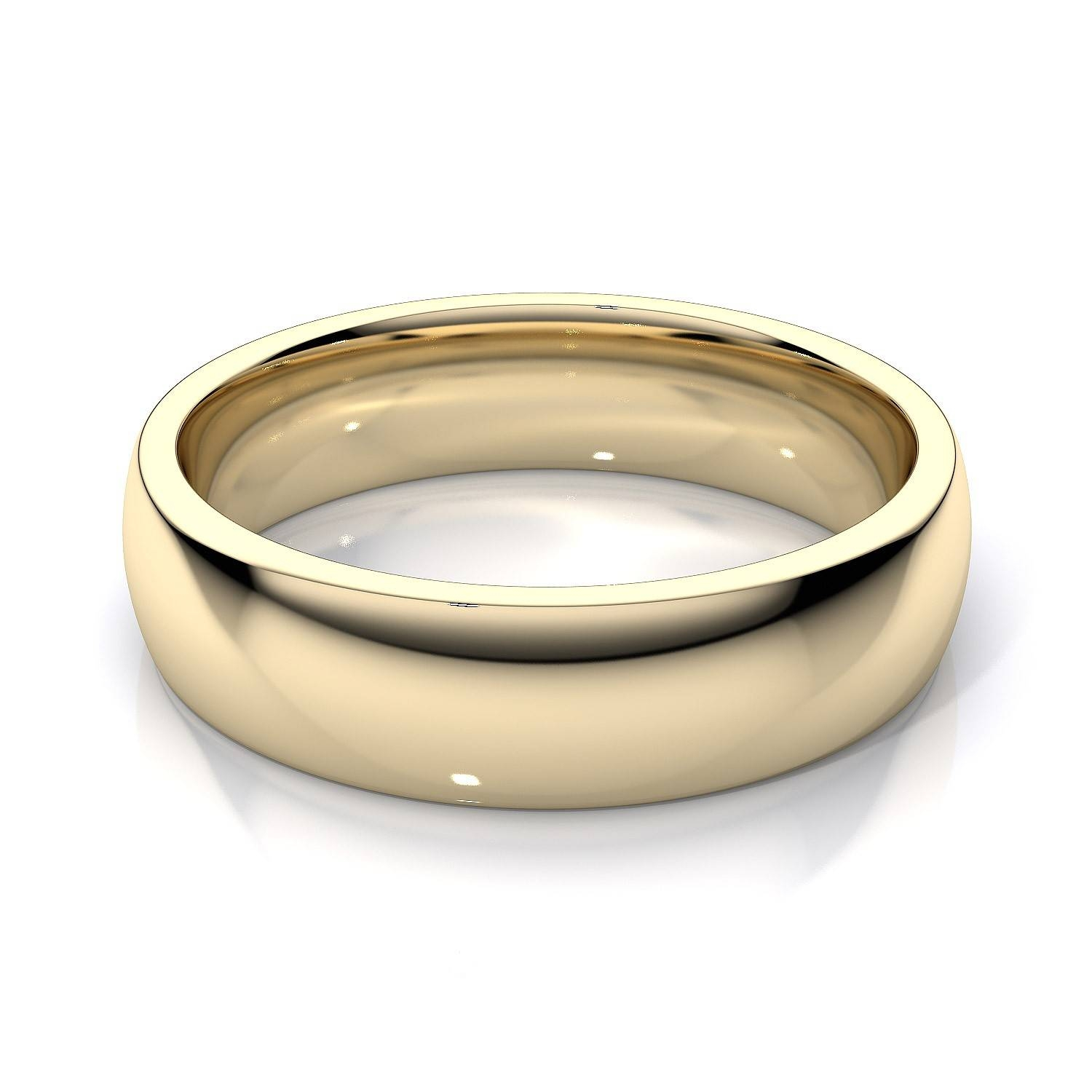 5Mm Comfort Fit Mens Plain Wedding Band In 14K Yellow Gold Within Yellow Gold Mens Wedding Rings (View 3 of 15)