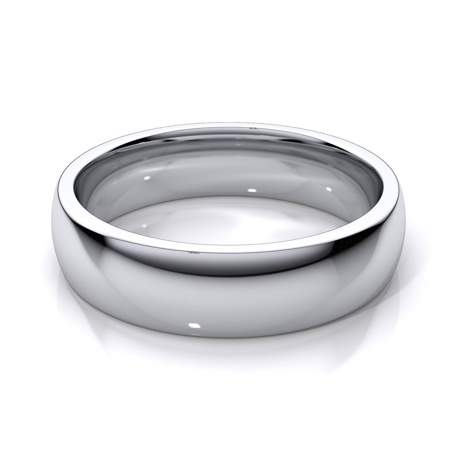 5mm Comfort Fit Mens Plain Wedding Band In 18k White Gold Within White Gold Mens Wedding Rings (View 10 of 15)