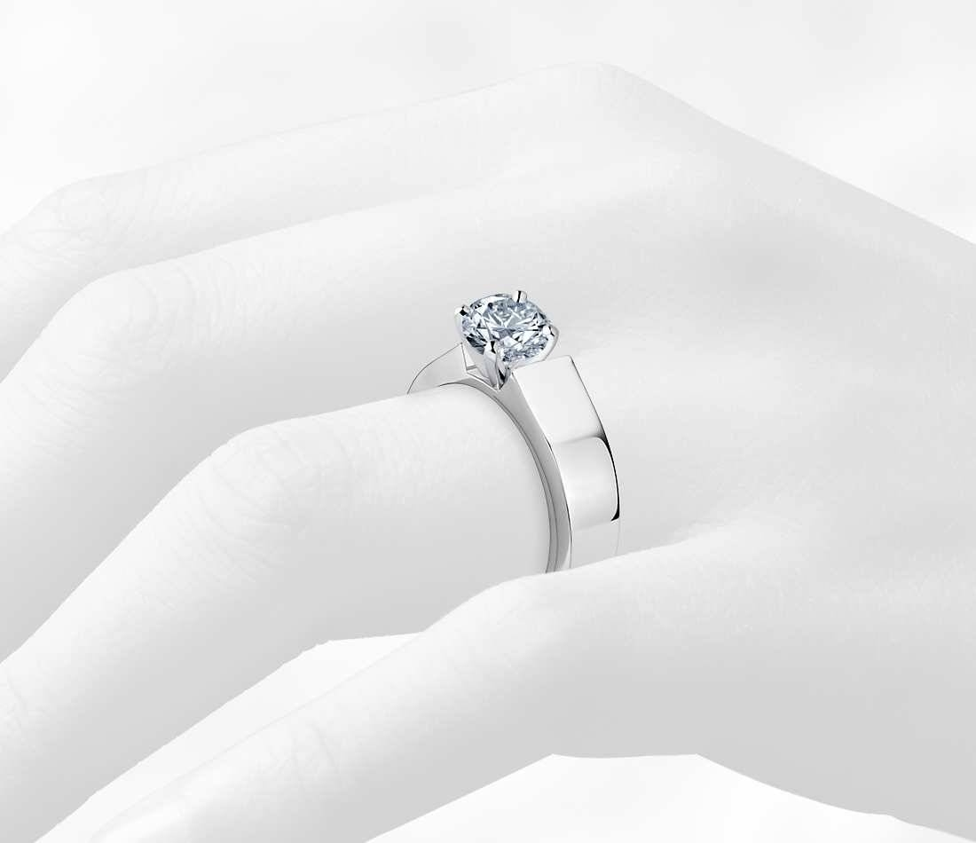 5mm Diamond Flat Solitaire Engagement Ring In 14k White Gold Intended For Flat Engagement Ring Settings (View 9 of 15)