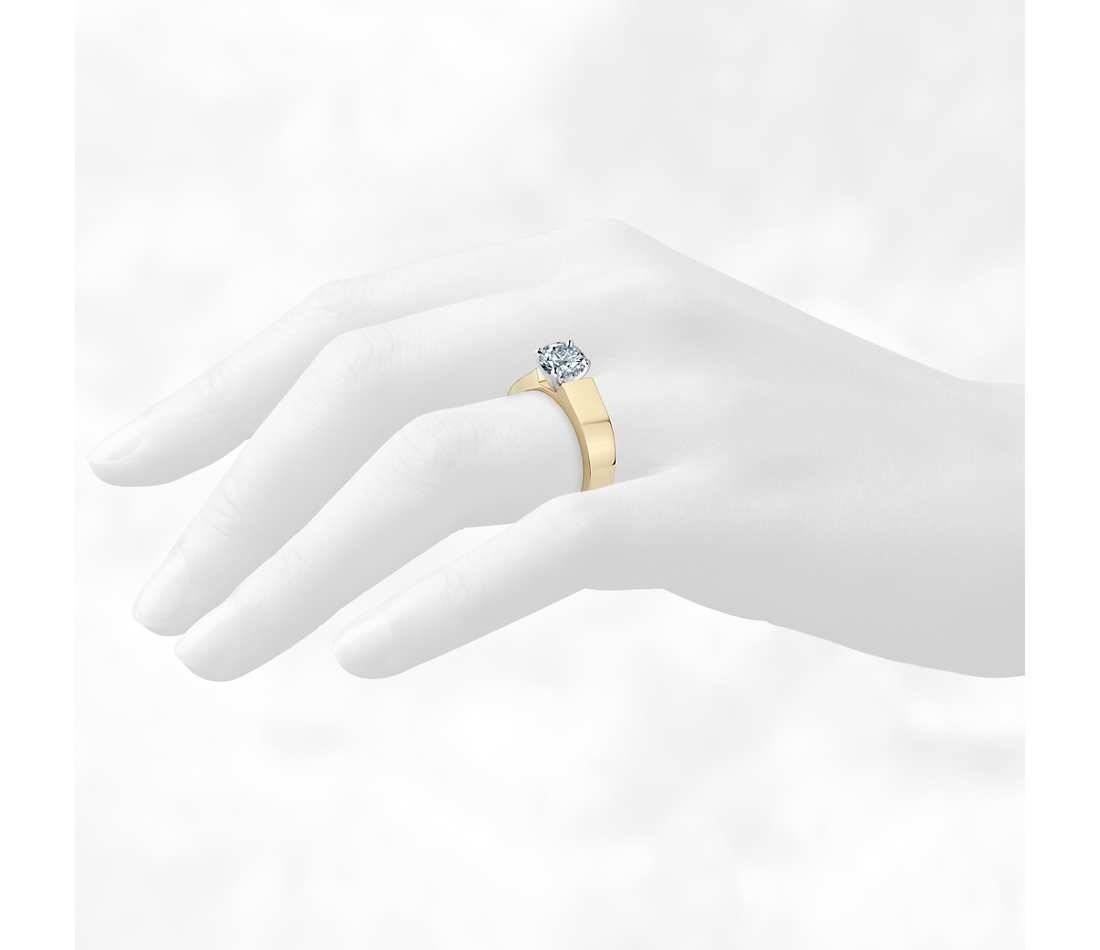 5Mm Diamond Flat Solitaire Engagement Ring In 18K Yellow Gold With Flat Engagement Rings (View 5 of 15)