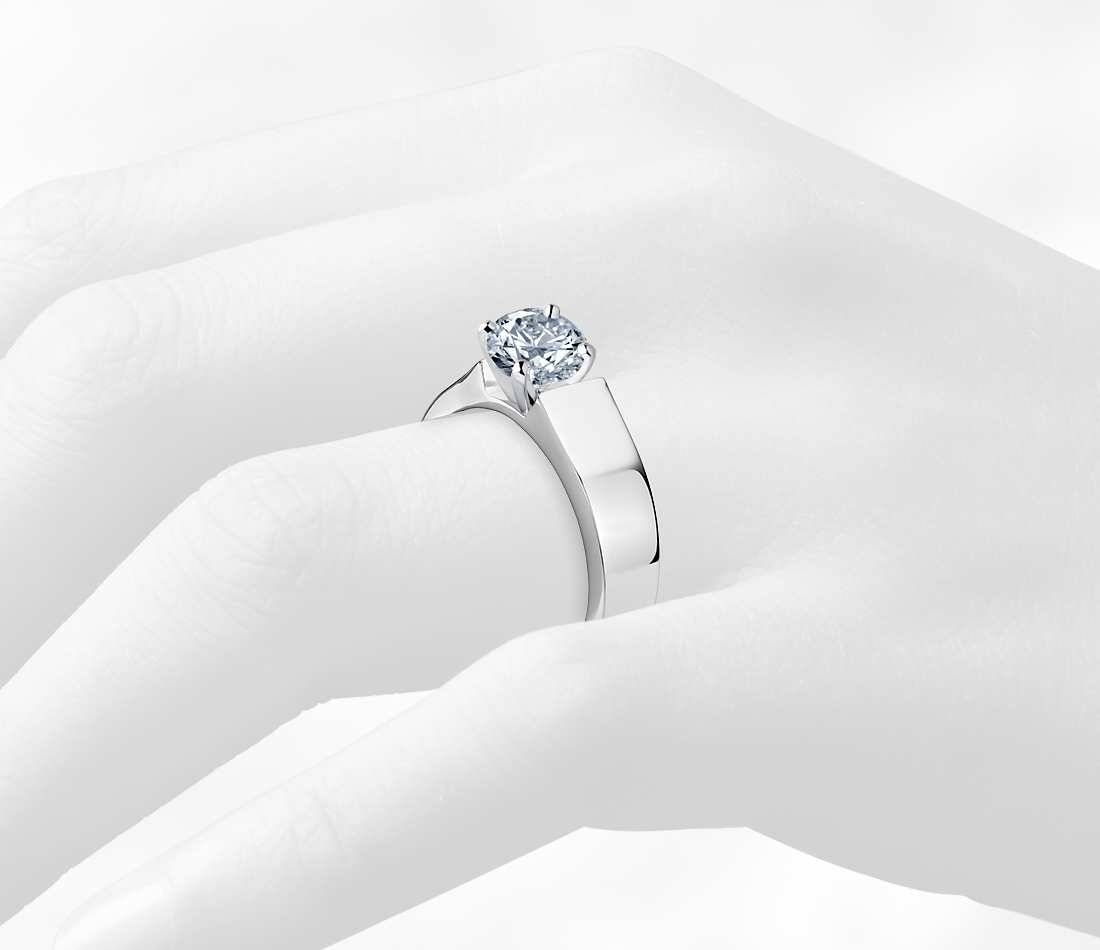 5Mm Diamond Flat Solitaire Engagement Ring In Platinum – Shop For With Regard To Flat Engagement Rings (View 6 of 15)