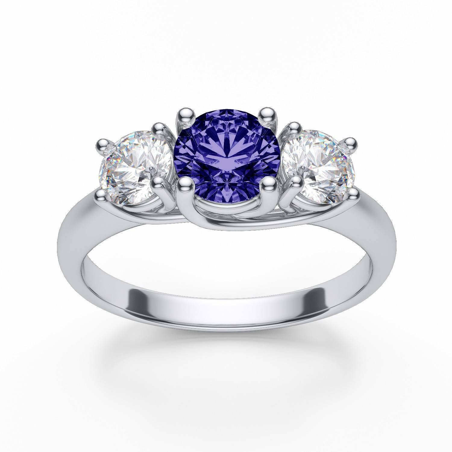 5Mm Prong Set Tanzanite And Diamond Engagement Ring In 14K White Gold Pertaining To Tanzanite Engagement Rings With White Gold (View 3 of 15)