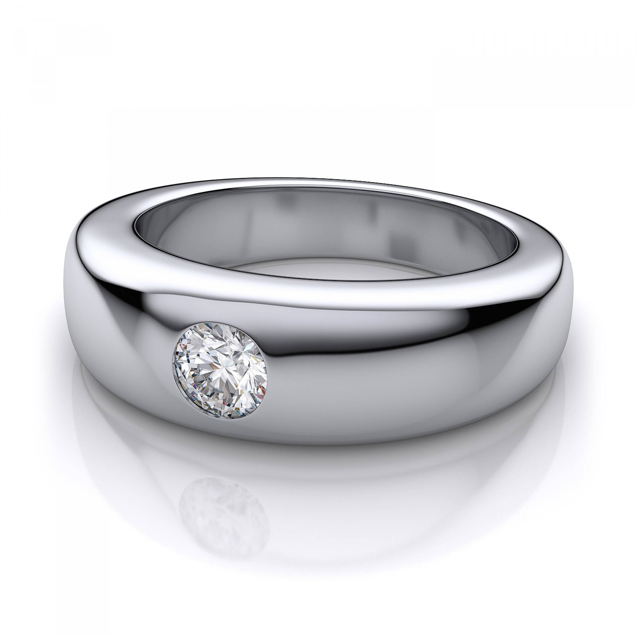 6.8Mm 6.8Mm Men's Diamond Wedding Ring In 14K White Gold Throughout White Gold Wedding Bands For Him (Gallery 9 of 15)