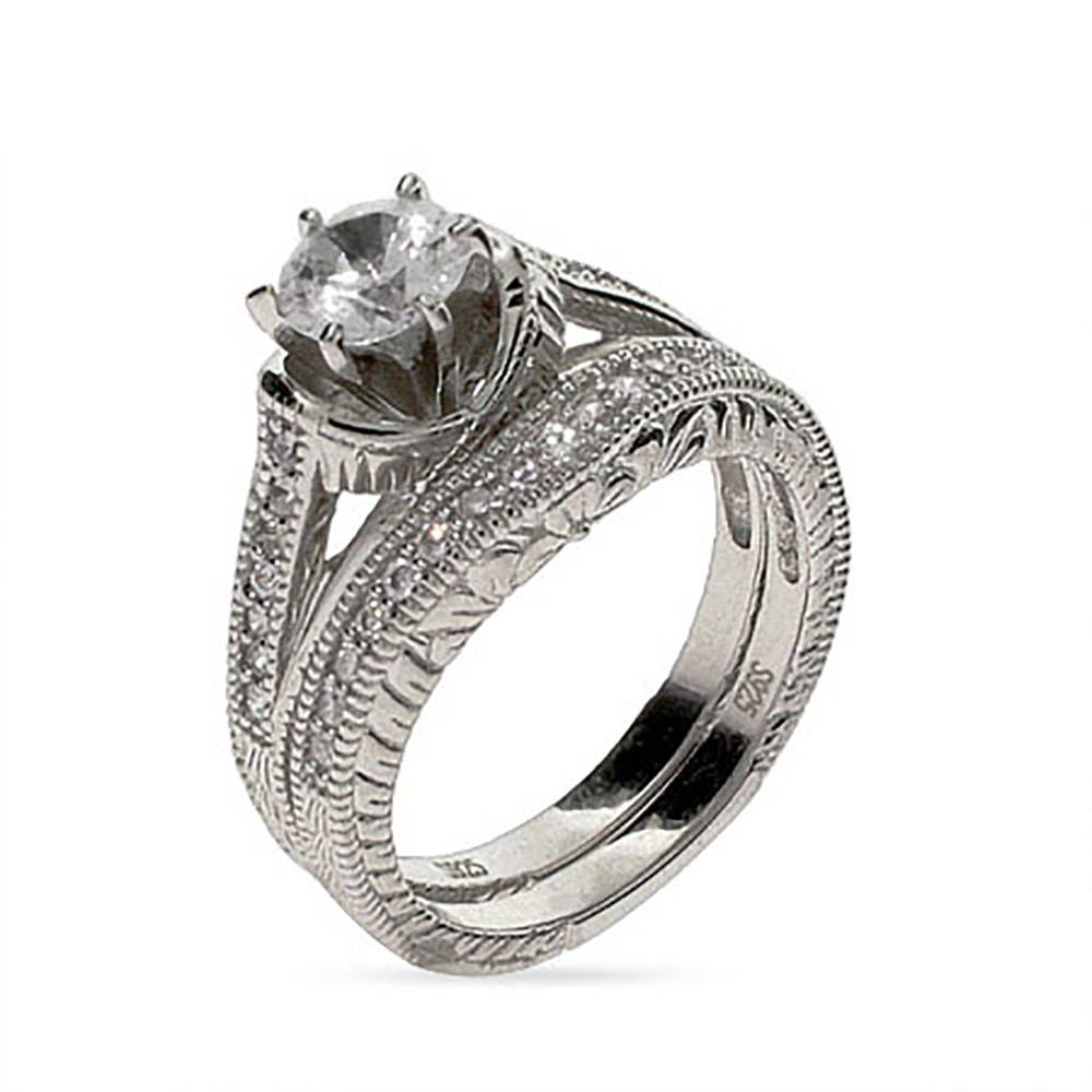 6 Mm Cz Wedding Ring Set In Sterling Silver | Eve's Addiction® Intended For Silver Engagement Ring Sets (View 2 of 15)