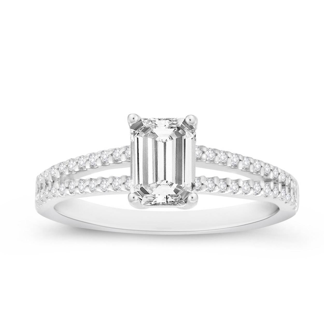 62 Diamond Engagement Rings Under $5,000 | Glamour In Silver Emerald Engagement Rings (View 2 of 15)