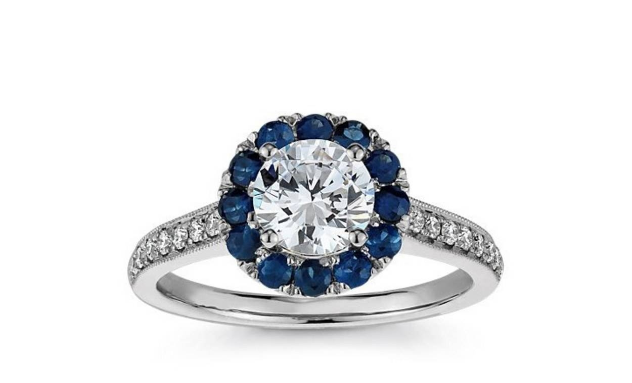 62 Diamond Engagement Rings Under $5,000 | Glamour Regarding Engagement Rings With Sapphire (Gallery 12 of 15)