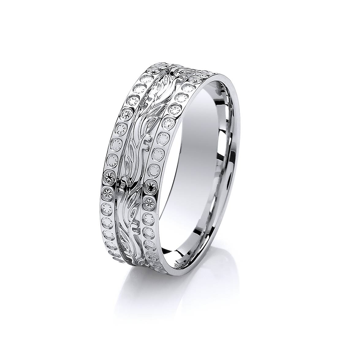 6Mm 9Ct White Gold Diamond Cut Effect Patterned Wedding Ring Within White Gold Diamond Cut Wedding Rings (Gallery 2 of 15)