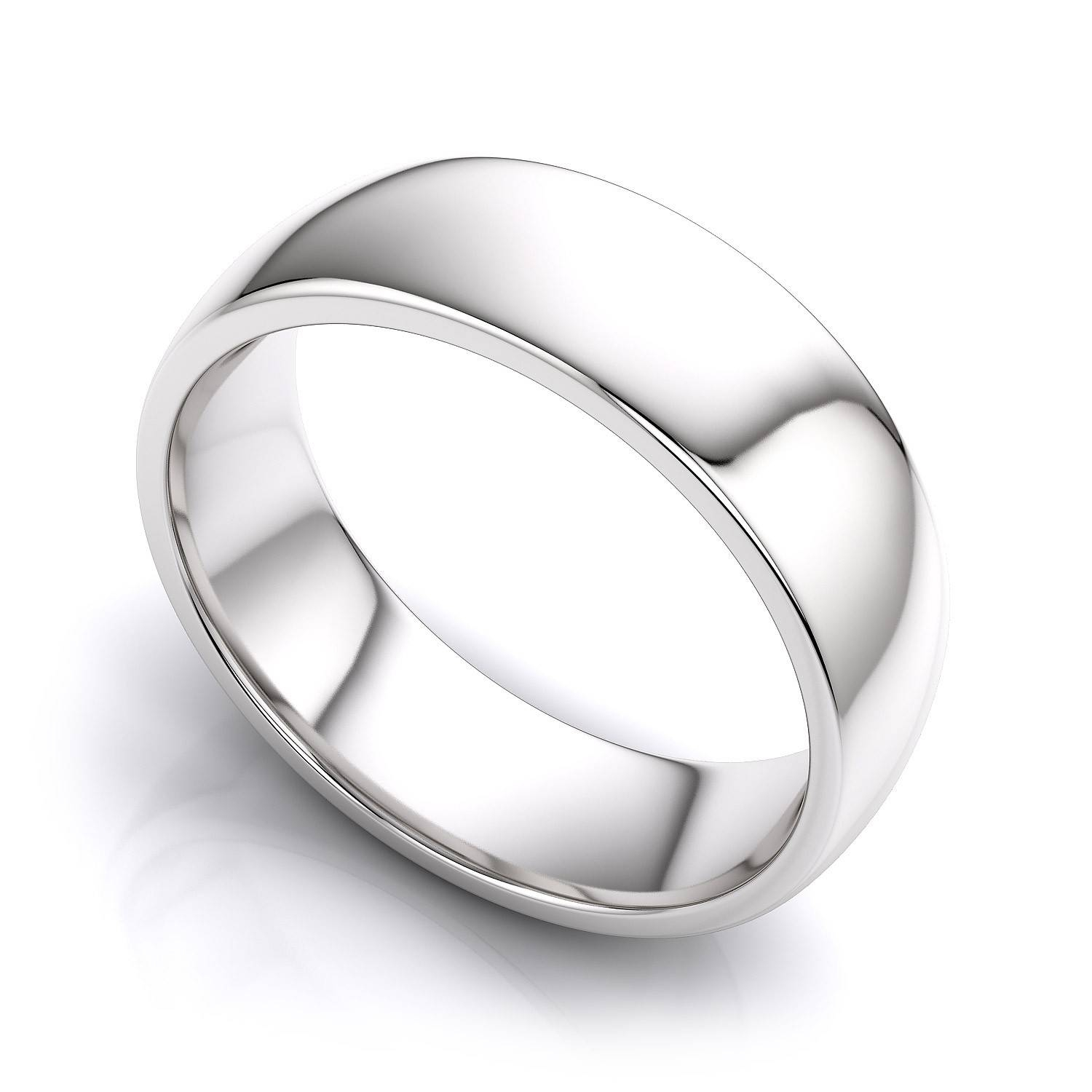 6mm Comfort Fit Mens Plain Wedding Band In 18k White Gold Throughout Male