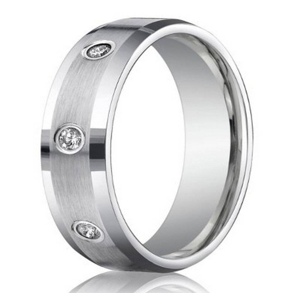 6Mm Men's Benchmark Palladium Wedding Ring With Bezel Set Diamonds In Mens Palladium Wedding Rings (View 1 of 15)