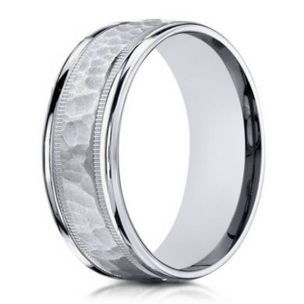 6Mm Men's Hammered Center 18K White Gold Designer Ring Pertaining To Tungsten Hammered Wedding Bands (View 1 of 15)
