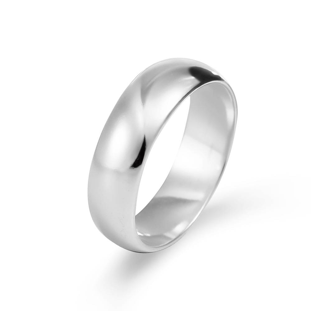 6Mm Sterling Silver Wedding Band Intended For Black And Silver Wedding Bands (View 2 of 15)