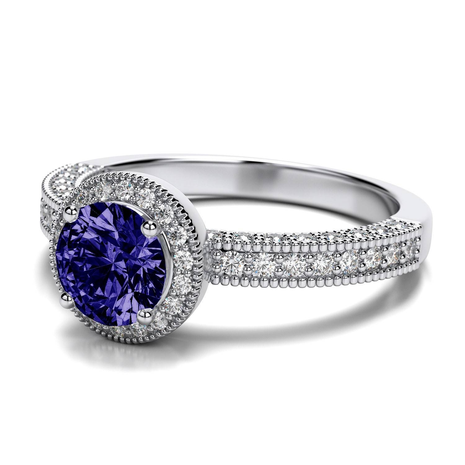 6Mm Tanzanite And Vintage Milgrain .52Ctw Diamond Engagement Ring Regarding Engagement Rings Tanzanite (Gallery 10 of 15)