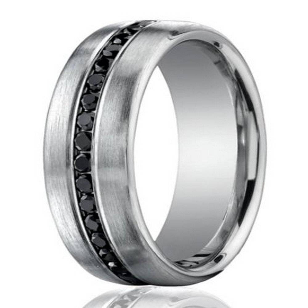 7.5Mm 950 Platinum Black Diamond Men's Wedding Ring With Regard To Platinum Wedding Rings For Him (Gallery 12 of 15)