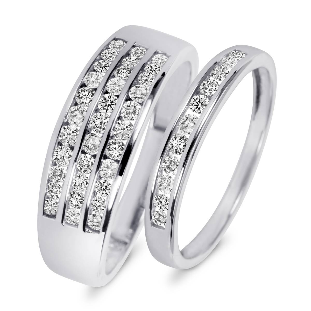 7/8 Carat T.w. Diamond His And Hers Wedding Rings 10K White Gold In His And Her Wedding Bands Sets (Gallery 110 of 339)